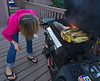 Minor fire outbreak on the grill.  No problem.