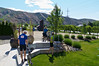 Tom, Rodrick, Hilary, Ken and Monique break the rules and ride from Entiat.  22 miles in, we stop at a bakery.
