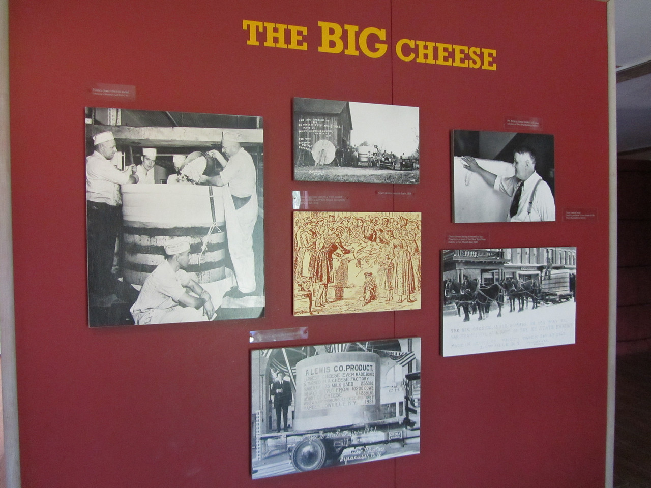 """The Big Cheese"" came from wheels of cheese made for the state fair. Each year trying to make a wheel larger than the last.<br /> <br /> In 1914 it weighed 5.5 tons. In 1921 it was 12 tons. yum."