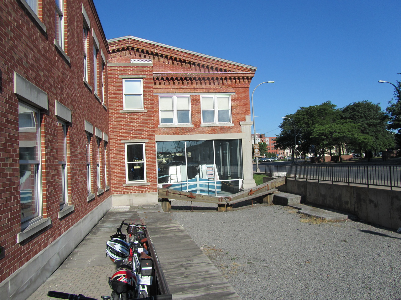 Original weighlock bldg. The large glass windows were added after the fact and the boats would drift right in and weighed through water displacement.