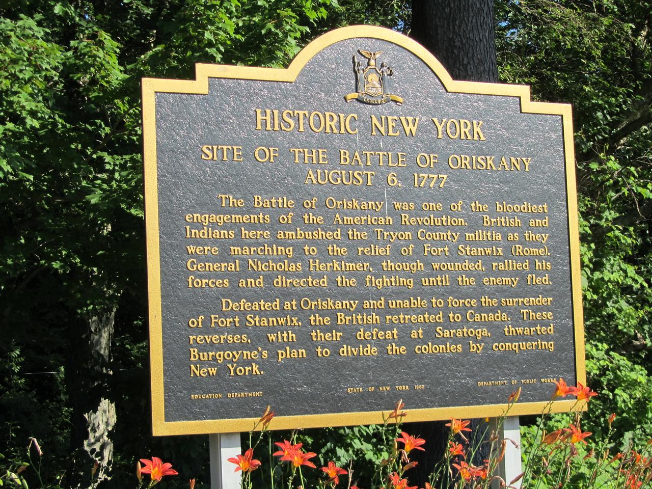 Oriskany battlefield, a turning point in the American revolution.