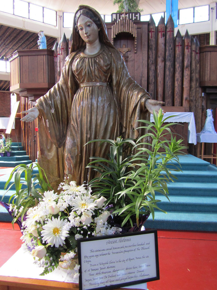 An old Oak Madonna carved 350 years ago in France where the martyrs originated from. One can assume they prayed to this status while in Europe.