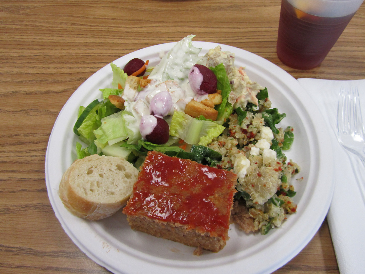 Dinner at the Medina Middle School. Of all the meals provided, this was by-far the best! Turkey meatloaf, quinoa with spinach, sun dried tomatoes, and goat cheese, baby red potato salad, green salad with all the fixings (including beets - yum), fresh baguettes.... Plate two was brussel sprouts with cranberries, green beans with slivered almonds, and some more salad. Fresh brewed ice tea with lemon washed it all down. Great job Medina.
