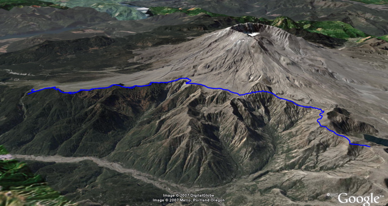 Google Earth view of trail. Facing ESE.