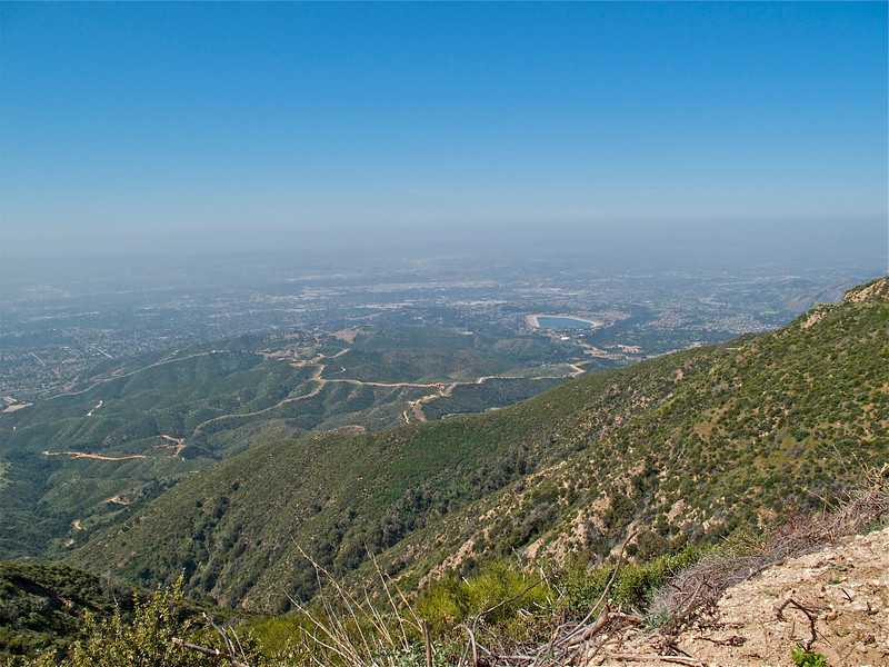 Gaining elevation. Claremont Hills Wilderness Park and Live Oak Reservoir in the distance.