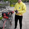 "Greg Siple just before he left the statehouse.  I asked him why fish were hidden in the jersey pockets, and he replied ""We all return to water.""  Just like the early days, Greg still carries a good camera with him, even on hi bike."