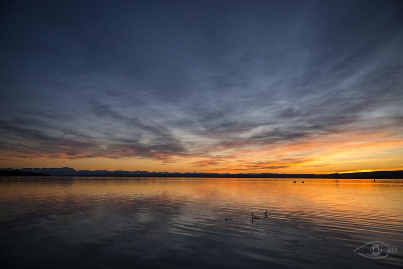 Sonnenuntergang, Stegen am Ammersee, Oberbayern, Bayern, Deutschland