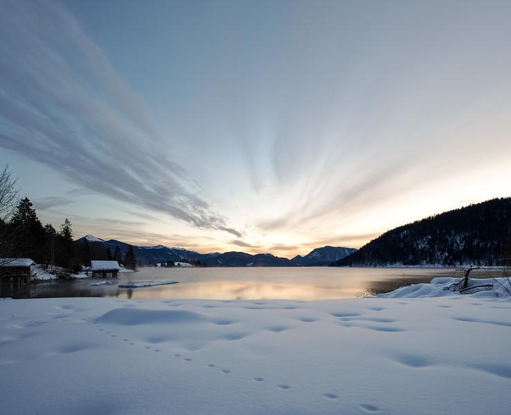 Sonnenaufgang am Walchensee, Oberbayern, Bayern, Deutschland