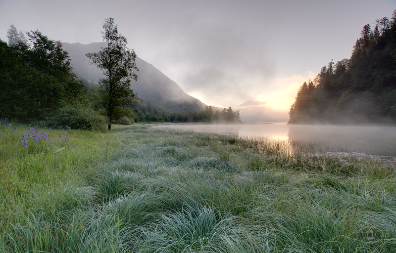 Sonnenaufgang bei Reith im Winkel, Oberbayern, Bayern, Deutschland