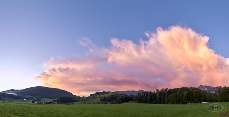 Wolken bei Sonnenuntergang, Froschsee, Ruhpolding, Oberbayern, Bayern, Deutschland