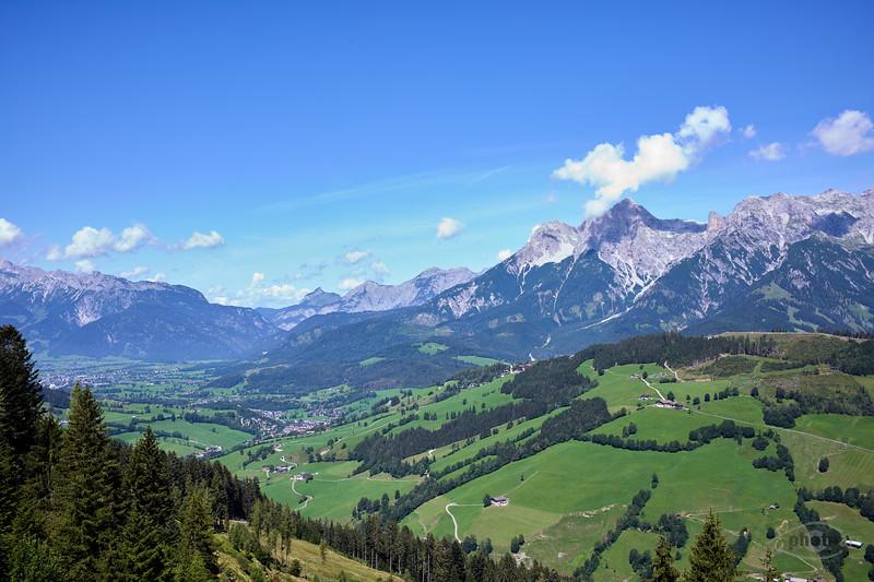 Blick von der Thorau Alm, Salzburger Land, Österreich