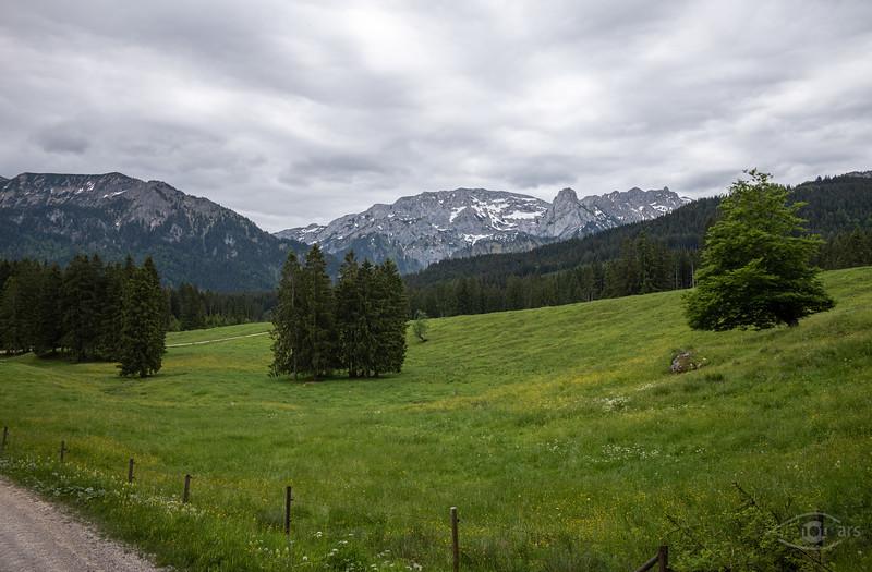 Alpenpanorama vom Buchenberg, Oberbayern, Bayern, Deutschland