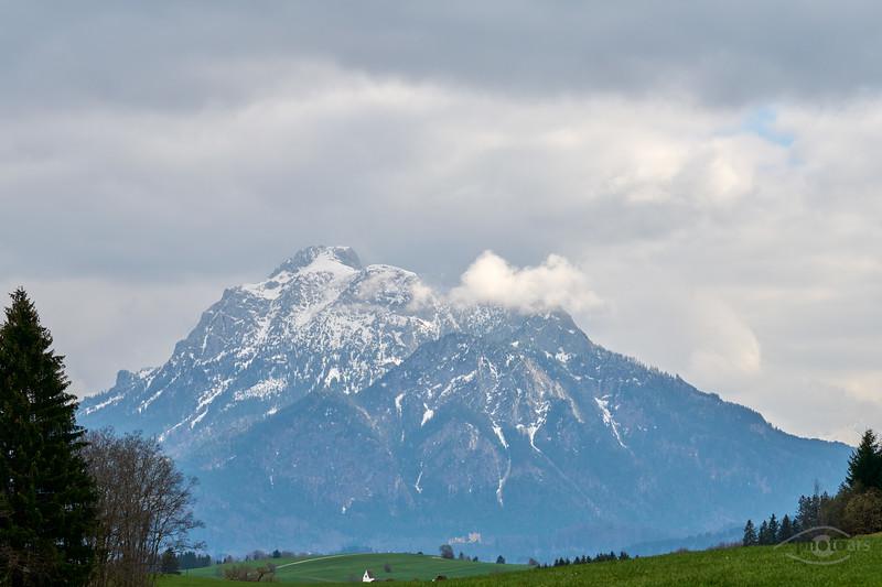 Bergpanorama von Rieden aus, Oberbayern, Bayern, Deutschland