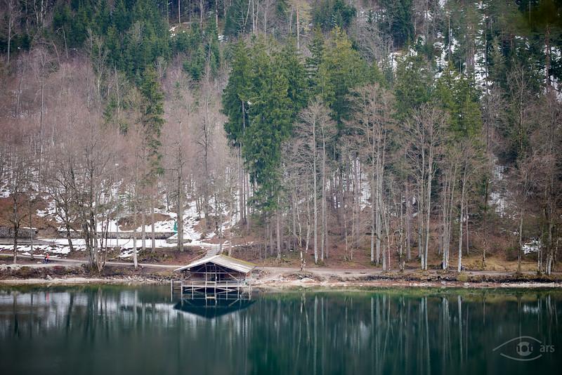 Bootshaus am Alpsee bei Hohenschwangau, Bayern, Deutschland