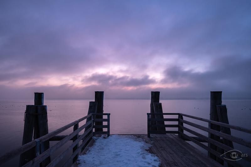 Sonnenuntergang am Ammersee, Breitbrunn, Oberbayern, Bayern, Deutschland