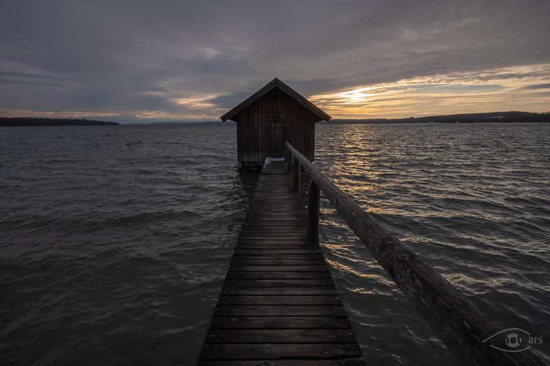 Sonnenuntergang in Stegen, Ammersee, Oberbayern, Bayern, Deutschland