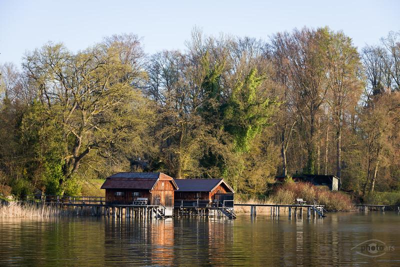 Bootshäuser am Ammersee, Oberbayern, Bayern, Deutschland
