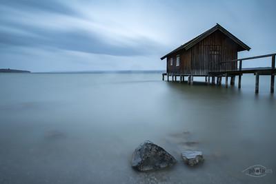 Bootshaus am Ammersee, Oberbayern, Bayern, Deutschland
