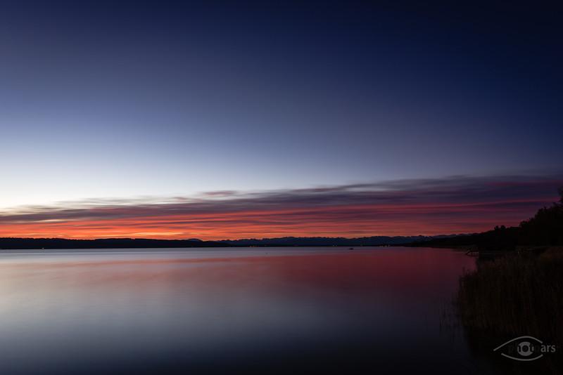 Sonnenaufgang am Ammersee, Utting, Oberbayern, Deutschland