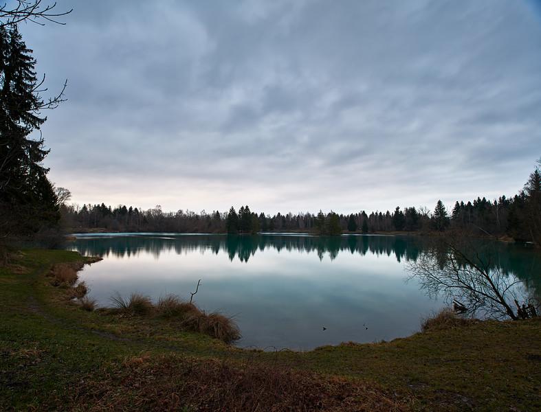 Auensee bei Sonnenaufgang, Königsbrunn, Schwaben, Bayern, Deutschland