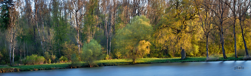 Weiher bei Kaisheim in der Abendsonne (Langzeitaufnahme), Kaisheim, Schwaben, Bayern, Deutschland