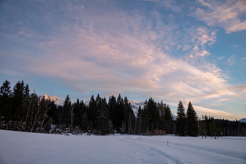 Sonnenuntergang am Barmsee, Krün, Oberbayern, Bayern, Deutschland