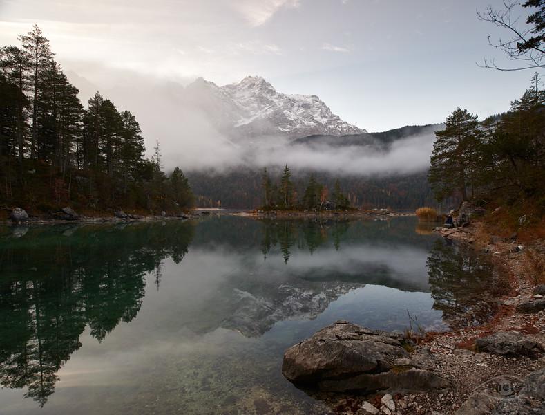 Morgens am Eibsee, Garmisch, Oberbayern, Bayern, Deutschland
