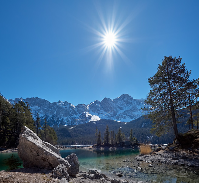 Eibsee mit Blick zur Zugspitze, Grainau, Oberbayern, Bayern, Deutschland