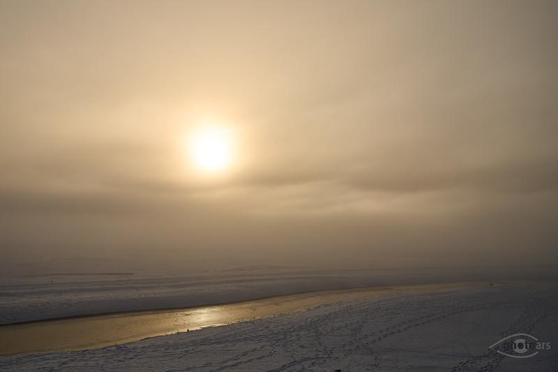 Sonnenaufgang am abgelassenen Forggensee, Rieden, Oberbayern, Bayern, Deutschland