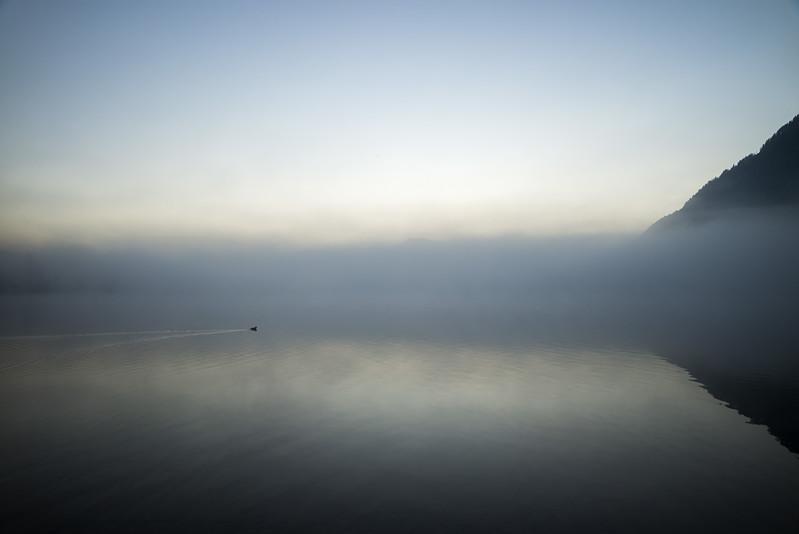 Großer Alpsee im Sonnenaufgang mit Nebel, Schwaben, Bayern, Deutschland