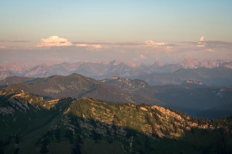 Sonnenuntergang auf dem Hochgrat, Oberallgäu, Bayern, Deutschland