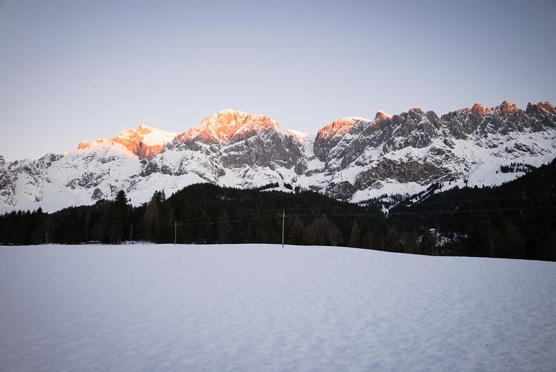 Hochkönig bei Mühlbach bei Sonnenaufgang, Österreich