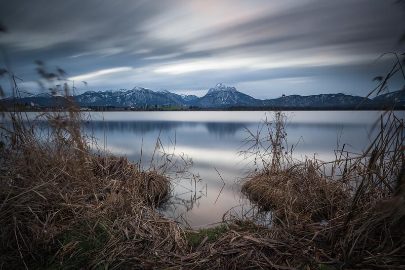 Hopfensee am Morgen, Hopfen am See, Oberbayern, Bayern, Deutschland