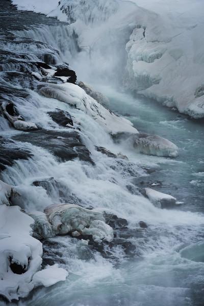 Gullfoss, Island, Wasserfall, Eis, Schnee