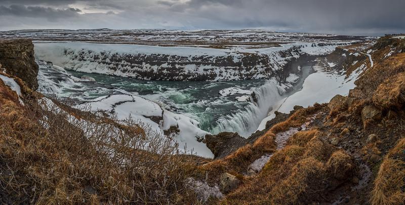 Gullfoss, Island, Wasserfall, Eis, Schnee, Panorama