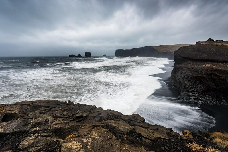 Island, Dyrhólaey, Meer, Felsen