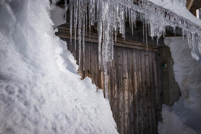 Eiszapfen auf dem Karwendel, Bayern, Deutschland