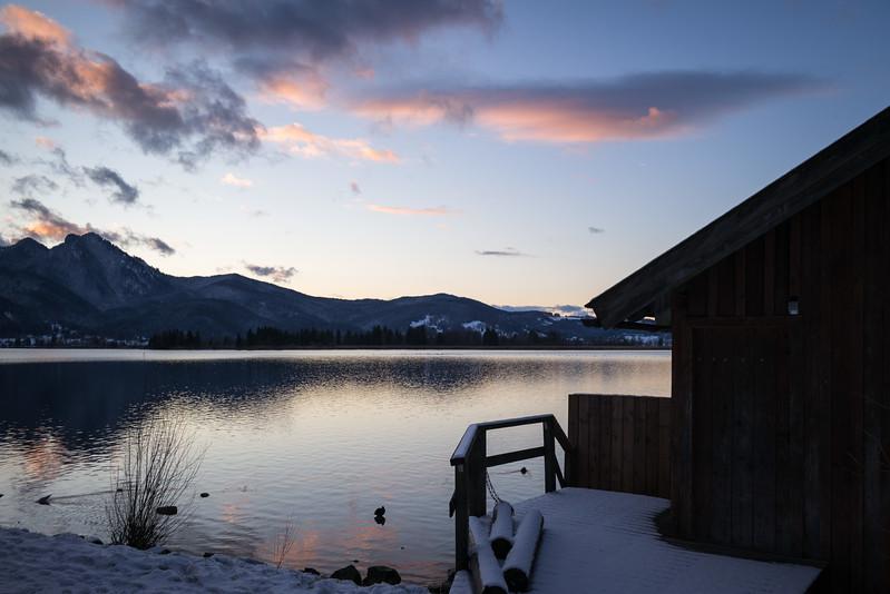 Sonnenuntergang am Kochelsee, Kochel am See, Oberbayern, Bayern, Deutschland