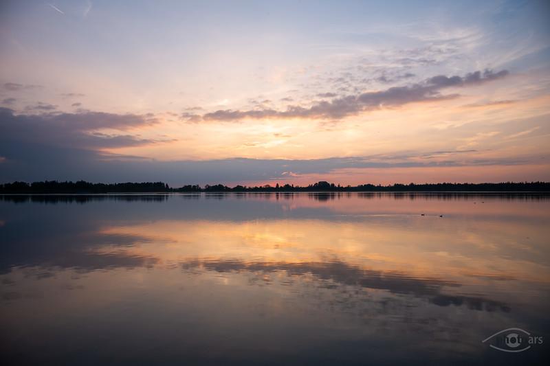 Sonnenuntergang am Mandichosee, Lechstaustufe 23, Schwaben, Bayern, Deutschland