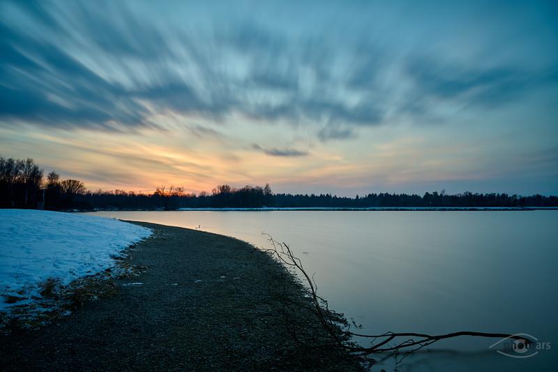 Winterliche Abendstimmung, Mandichosee, Mering, Schwaben, Bayern, Deutschland