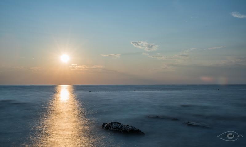Sonnenuntergang am Strand von Umag, Kroatien