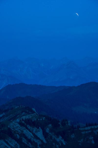 Mondfinsternis auf dem Hochgrat, Oberallgäu, Bayern, Deutschland