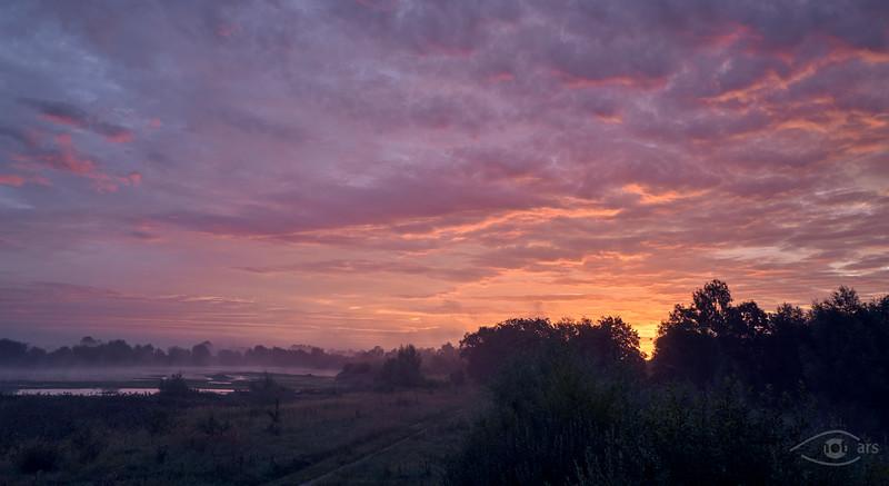 Sonnenaufgang bei Sophienried, Gundelfingen, Schwaben, Bayern, Deutschland