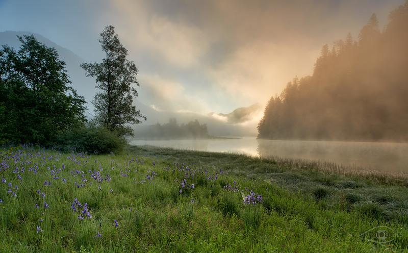 Blick auf den Weitsee bei Sonnenaufgang, Landkreis Traunstein, Oberbayern, Deutschland