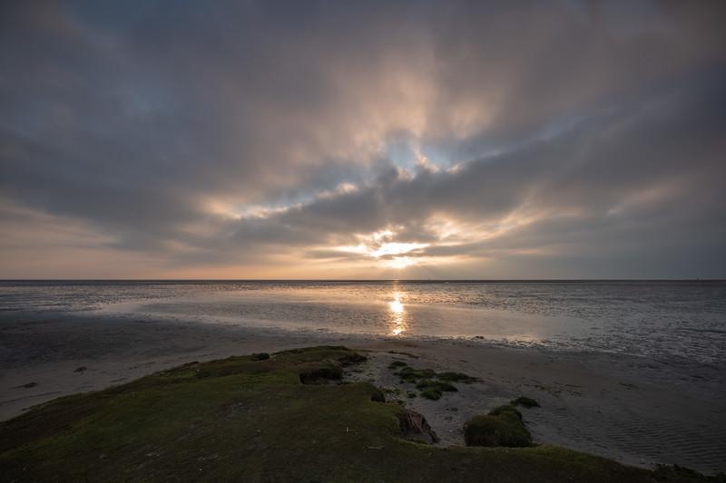 Sonnenuntergang an der Nordsee, Sankt Peter-Ording, Schleswig-Holstein, Deutschland