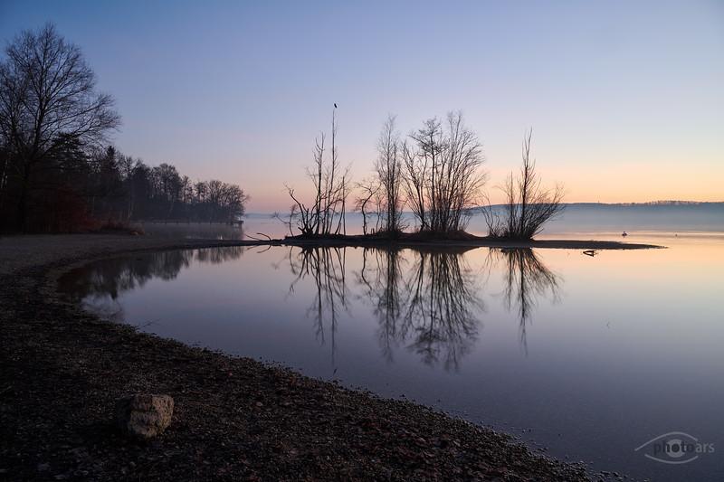 Sonnenaufgang am Starnberger See, Possenhofen, Oberbayern, Bayern, Deutschland