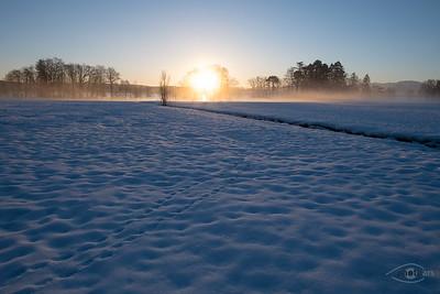 Sonnenaufgang am Starnberger See, Bernrieder Park, Oberbayern, Bayern, Deutschland