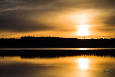 Sonnenaufgang am Wörthsee, Bayern, Deutschland