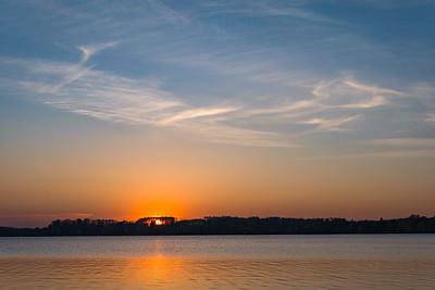 Sonnenuntergang am Wörthsee, Oberbayern, Bayern, Deutschland