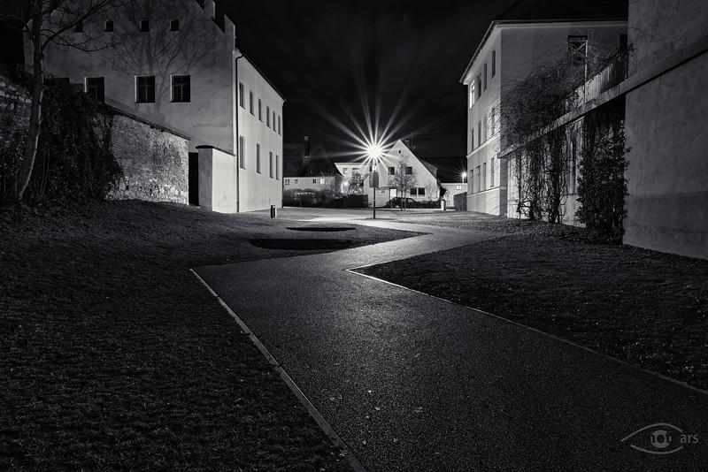 Nachts in Rain am Lech, Schwaben, Bayern, Deutschland